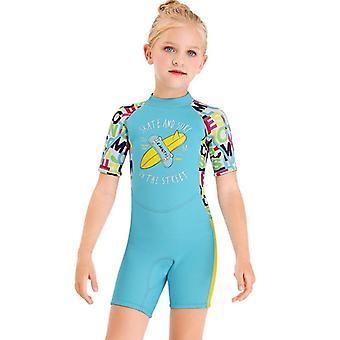 الأطفال wetsuit طويلة الأكمام قطعة واحدة الأشعة فوق البنفسجية حماية ملابس السباحة الحرارية dfse-14