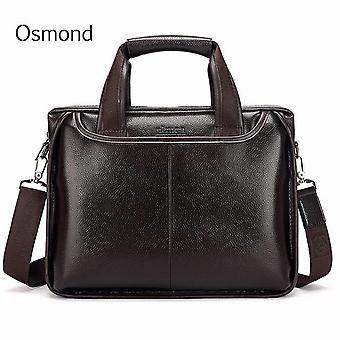 Osmond äkta läder män portfölj casual business man axel crossbody väskor stor kapacitet resa svarta budbärarväskor nya