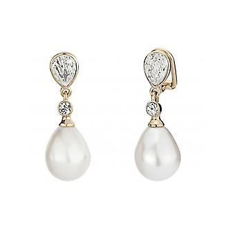Traveller Clip Earring  Hanging  12x15mm Drop Pearl 22ct Gold Plated - 110679 - 358