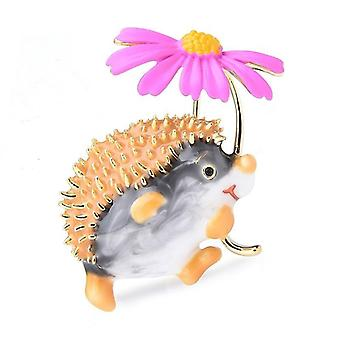 Wuli&baby Lovely Hold Flower Hedgehog Brooches Animal Pet Brooch