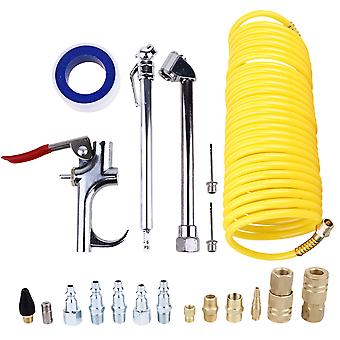 20pcs Air Compressor Accessory Kit Tool 25 Ft Recoil Hose Blow Nozzles Set (yellow)