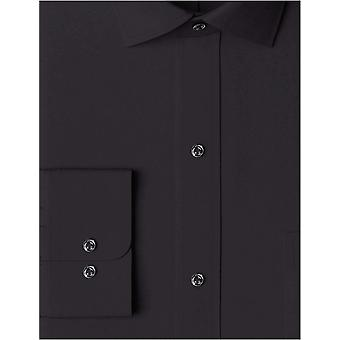 """BUTTONED DOWN Men's Classic Fit Spread Collar Solid Pocket Options, Black 16.5"""" Neck 33"""" Sleeve"""