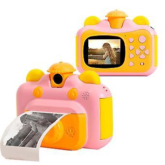 Kamera til øjeblikkelig udskrivning til børn med trykt papir (pink)