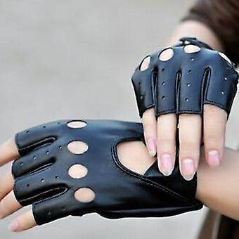 Frauen Mode Pu Leder Fingerhandschuhe, Fingerlose Handschuhe