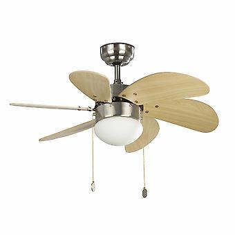 """Ventilatore a soffitto Palao Nickel 81cm / 32"""" con luce"""