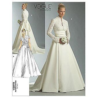 Vogue Patrón de costura 2979 Misses Vestido de Novia Vestido Tamaño 6-10 Sin cortar