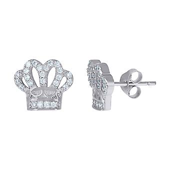 925 Sterling Silber Herren Kubin zirkonia Krone Mode Ohrstecker Schmuck Geschenke für Männer - 2,6 Gramm