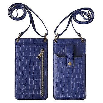 Sininen naiset krokotiili kuvio puhelin kukkaro kortin haltija lompakko crossbody laukku cai1071