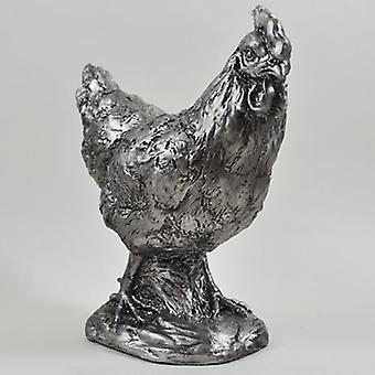 Sculpture de poulet argent H18.5cm