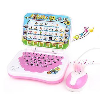 Cartoon Children's learning machine,folding English learning educational toys(Pink)