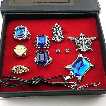 8pcs/lot Kuroshitsuji Black Bulter Sebastian Ring, Earring, Necklace & Brooch Set