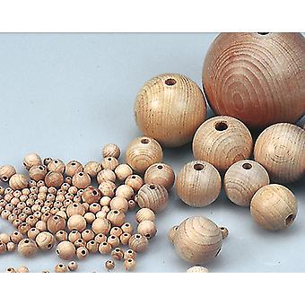 50 Obehandlad 25mm träpärla bollar med gänghål för hantverk