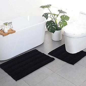 Svarte baderomstepper, konturteppesett, ekstra tykke badematter, sklisikre myke plysj chenille shaggy badematter (50 x 80 cm pluss 50 x 50 cm u)