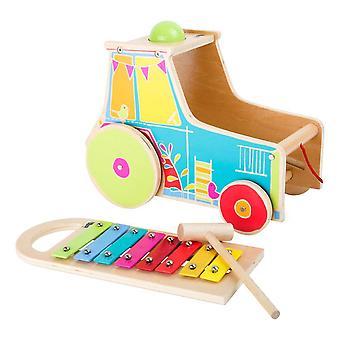 Kleiner Fuß Kinder Hölzerne Motor Activity Traktor mit Xylophon Spielzeug