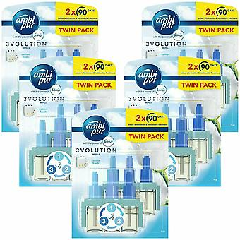 Ambi Pur 3Volution Twin Pack Plug In Refill Cotton Fresh, 5 Pack of 20ml