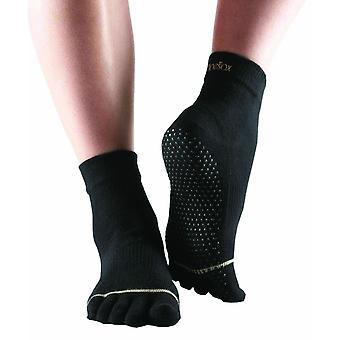ToeSox Full Toe Ankle Pilates Yoga Dance Non Slip Exercise Studio Socks - Black