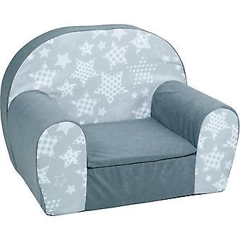 Luxe kinderstoel - zetel - sofa - 60 x 45 - grijs sterren