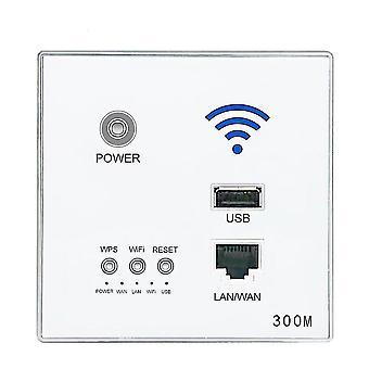 300M Nouveau dans le point d'accès mural AP Routeur WiFi sans fil Charge USB Socket Wall Mount Router (blanc)
