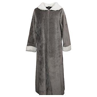 Weiche & gemütliche Damen M/L Robe mit fuzzy Hals und Ärmeln Grau 670894