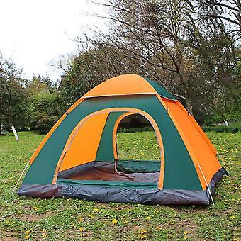 3-4 People 3 IN 1 Outdoor Automatic Rainproof Camping Tent Double Door Tent(orange)