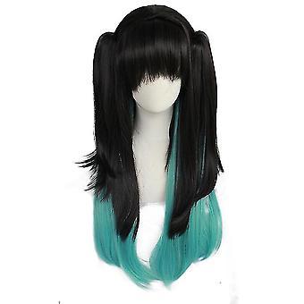 Demon slayer tokitou muichirou wigs long synthetic hair wigs cap halloween gift