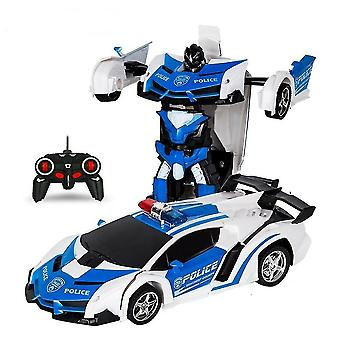 Rc transformers lamborghini coche robot vehículo deportivo para niños (Azul)