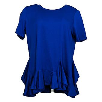 DG2 by Diane Gilman Women's Top Ruffle-Hem Tee Blue 716116