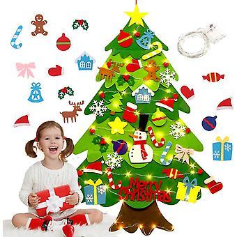 Diy Felt Joulukuusi, led-valoilla, jouluseinäkoristeilla