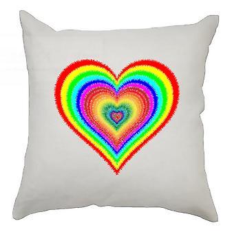 hjerter putetrekk 40cm x 40cm - regnbue hjerte