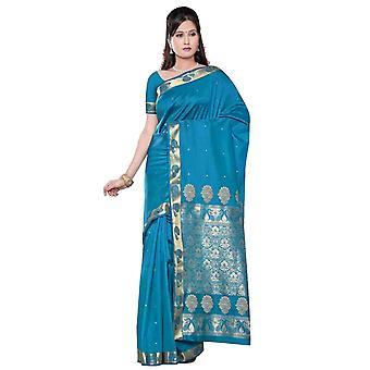 Turquoise - Benares kunst zijde Sari / Saree/buikdansen weefsel (India)