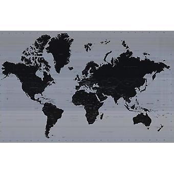 Mapa do mundo - contemporâneo cartaz Poster Print