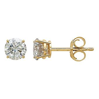 Synthetic Moissanite Solitaire Earrings 0.58 Carat (ctw) 4.5mm (3/4 Carat Diamond look) in 14K Yellow Gold