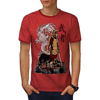 Japanin Dragon susi miehet Heather punainen / RedRinger t-paita | Wellcoda