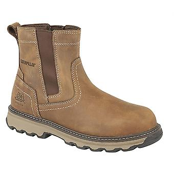 Mens Caterpillar Lightweight Industrial Pull On Gusset Safety Boots Shoes