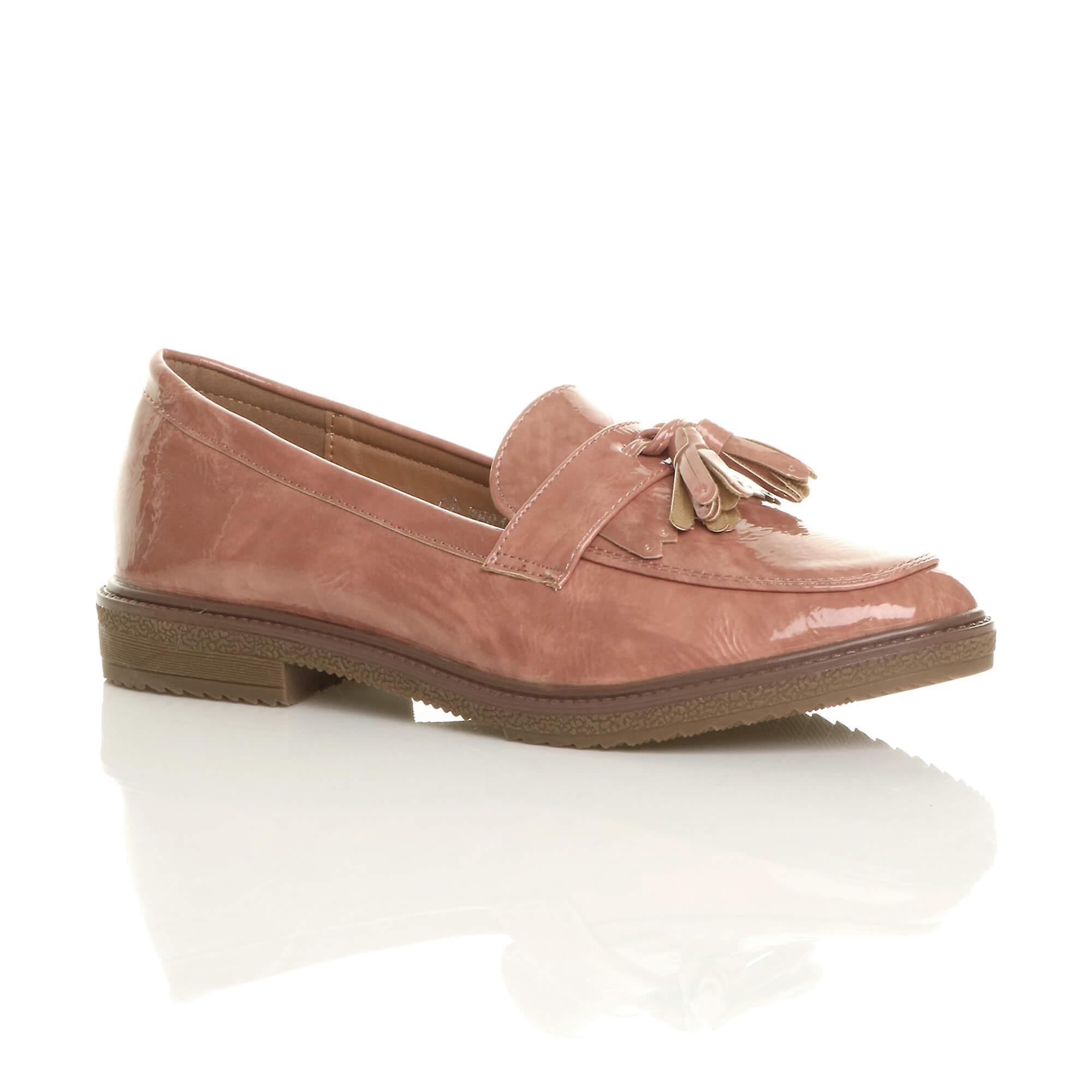 Ajvani womens flat low heel fringe tassel moccasins loafers smart shoes dEHuD