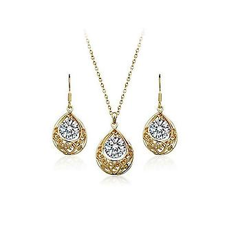 Womens Crystal Gold And Clear Teardrop Jewelry Set Earrings And Necklace