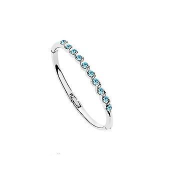 Femmes dames d'argent cristal bleu éléments Bracelet jonc à Noël