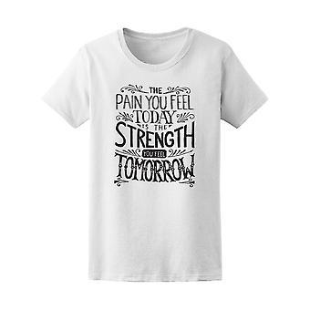 Smerte, du føler er styrke træning kvinder Tee - billede af Shutterstock