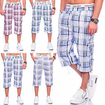 Mens Bermuda shorts stretchable Cargo Print checkered sports (various colors)