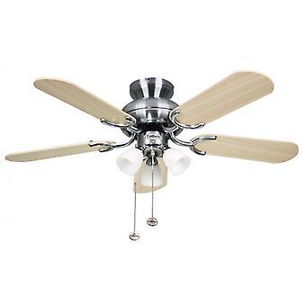 Plafonnier ventilateur Amalfi en acier inoxydable avec éclairage 91 cm/36