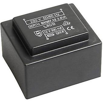 PCB mount transformator 1 x 230 V 1 x 15 V AC 3.60 VA 240 mA PTG381501 Gerth