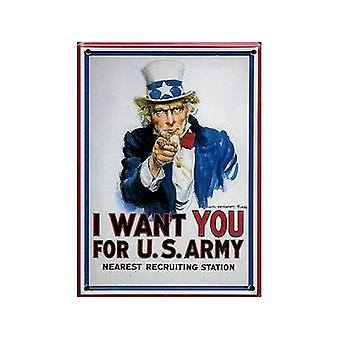 Jeg vil have dig (Onkel Sam) Metal postkort / mini tegn