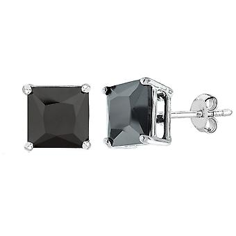 Argent sterling Rhodium finition Princess Cut noir zircon cubique Stud Earring