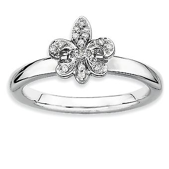 925 Sterling Silver Polished Prong set Rhodium plated Stackable Expressions Fleur De Lis Diamond Ring Jewelry Gifts for