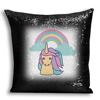 i-Tronixs - Unicorn Printed Design Black Sequin Cushion / Pillow Cover with Inserted Pillow for Home Decor - 3