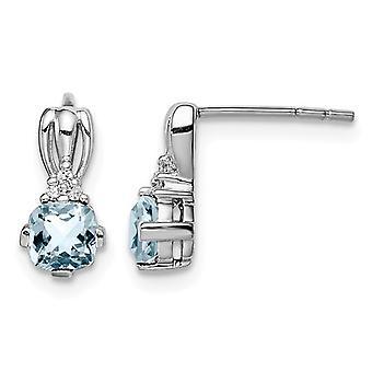 Genuine 1/2 Carat (ctw) Aquamarine Drop Earrings in Sterling Silver