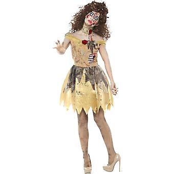 Сказочный Золотой костюм зомби, желтый, с платье, придает латекса ребра, оголовье & колье