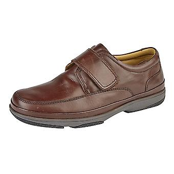 Roamers Mens Leather breed Fit Touch bevestiging Casual schoenen