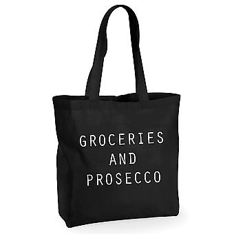 Lebensmittel und Prosecco schwarze Baumwoll-Einkaufstasche