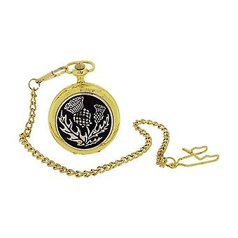 Boxx Gents Thistle Design Cover Goldtone Pocket Watch 14 Inch Chain BOXX403